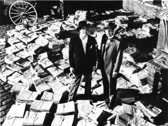 "Orson Welles (left, with Joseph Cotten) is the powerful newspaperman Charles Foster Kane in ""Citizen Kane."""