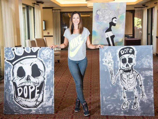 """Michelle Wie and some of her artwork. """"I actually think"""