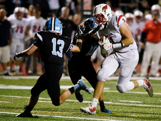 Westwood at Mahwah on Friday, September, 8, 2017. (center) W #1 Joe Kramer runs for a first down in the third quarter.