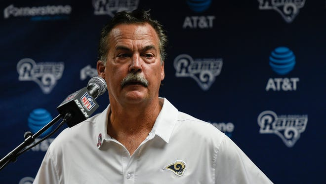 Los Angeles Rams head coach Jeff Fisher speaks at a news conference after his team lost Sunday to the Buffalo Bills.