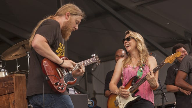 Derek Trucks and Susan Tedeschi perform with Tedeschi Trucks Band at the New Orleans Jazz & Heritage Festival, on Friday, April 24, 2015 in New Orleans.