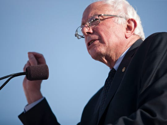 Sen. Bernie Sanders, I-Vt., kicks off his campaign for the Democratic presidential nomination in Burlington. He has been unable to shake super PACs that raise money to support him, despite his long opposition to such unlimited fundraising and spending.