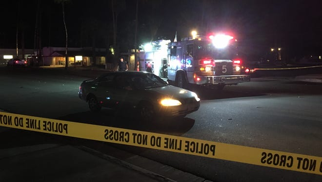 A woman was struck by a Toyota Camry Thursday night on South Palm Canyon Drive in Palm Springs. The city received a grant for improving conditions on the stretch, including the addition of lights.