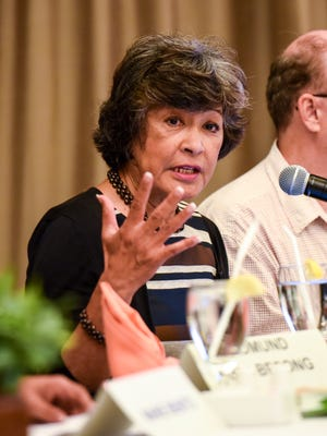 Doris Flores Brooks, Office of Public Accountability public auditor, replies to a question posed during a panel discussion at the Guam Women's Chamber of Commerce's 2018 Guam Tax Plan & Economic Forum at the Hilton Guam Resort & Spa in Tumon on Friday, Mar. 9, 2018.