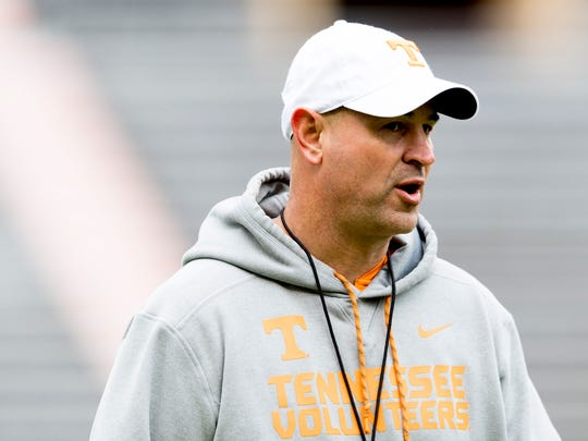 Tennessee Head Coach Jeremy Pruitt calls during Tennessee spring practice at Neyland Stadium in Knoxville, Tennessee on Saturday, April 7, 2018.