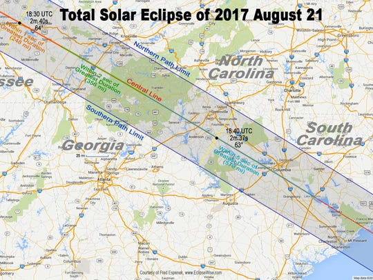 Anderson County is in the path of total solar eclipse