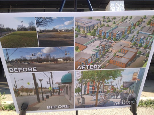 A rendering shows the potential development that could happen in College Hill on a 7.5-acre site that includes where Kroger currently stands.