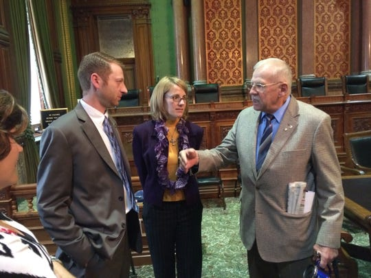 State Rep. Jarad Klein, cannabidiol advocate Maria La France and state Rep. Clel Baudler discuss the medical marijuana issue after the House Public Safety Committee approved a limited legalization bill on Tuesday.