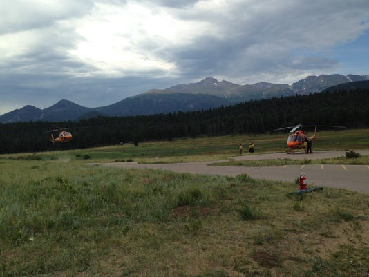 Helicopter from Loomis Lake landing for transfer to Air Ambulance - July 26
