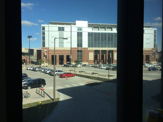 The view of Kinnick Stadium from Kirk Ferentz's new office, scheduled to be open at the end of September.