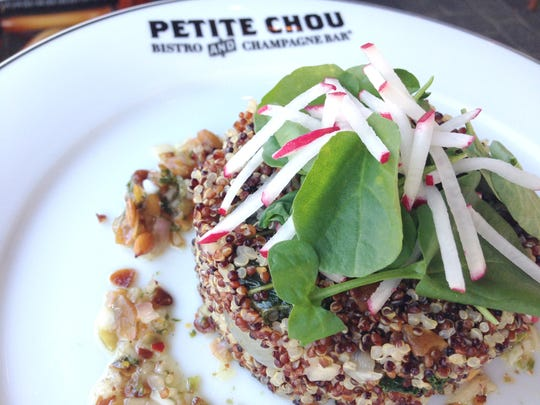 One of Petite Chou's best-selling dishes is its warm quinoa salad ($9.95), featuring both red and black quinoa, greens and pumpkin seed vinaigrette.