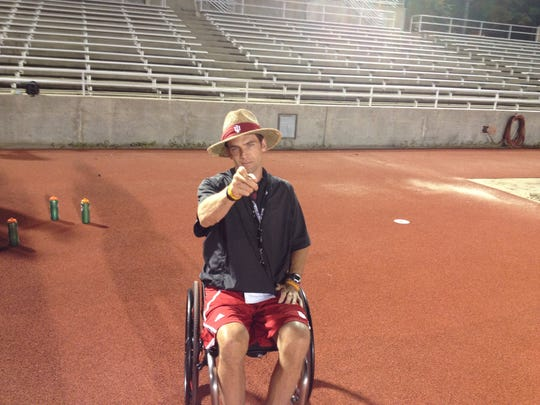 Tom Morris is an IU weightlifting coach who was severely injured in a mountain bike accident a couple of years ago.