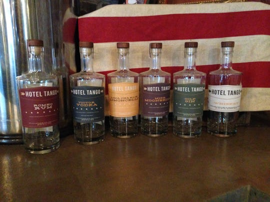 The line of products at Hotel Tango Distillery, located at 702 Virginia Ave. in historic Fletcher Place.