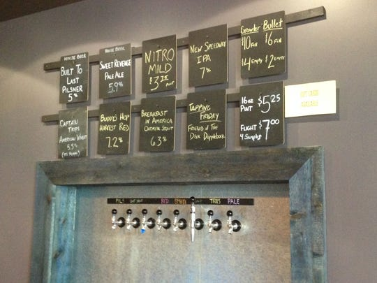 Stop 1: The craft beer selections at Chilly Water Brewing Company. The Pilsner and Pale Ale are always available, while the others rotate.