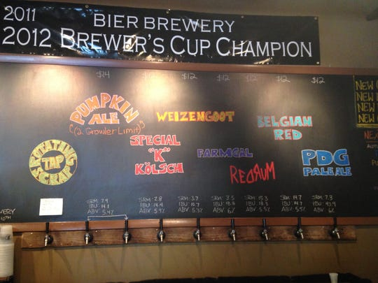 Stop 2: Always brewing different beer, the chalkboard at Bier Brewery is always changing with the latest selections.