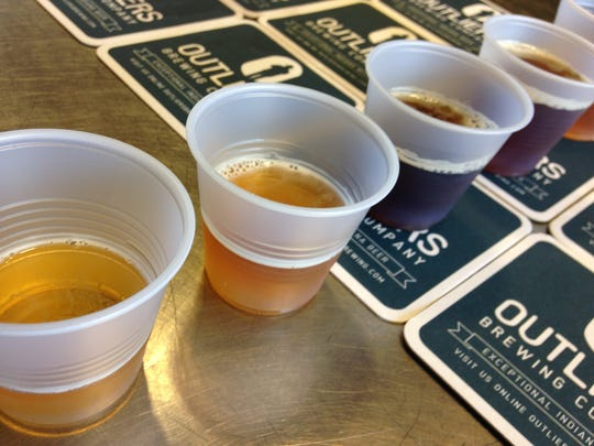 Stop 5: Samples of beer at Outliers Brewing Company. They opened their taproom in March.