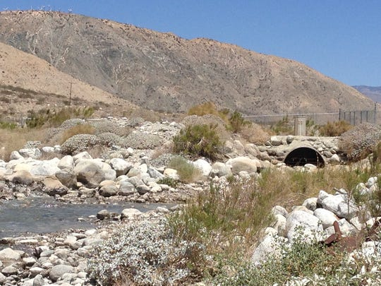 A section of the Colorado River Aqueduct delivers water to the Whitewater River recharge area northwest of Palm Springs.