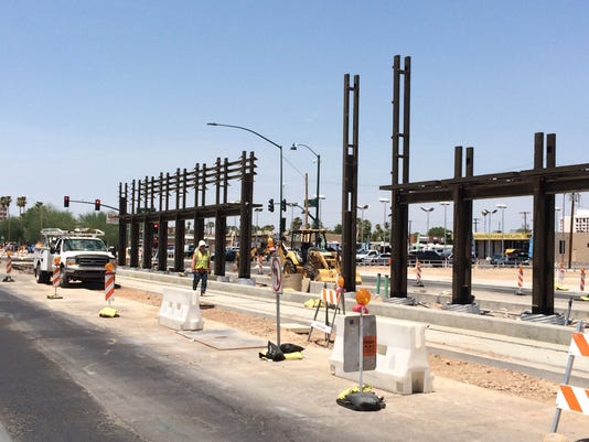 Mesa light-rail construction photo