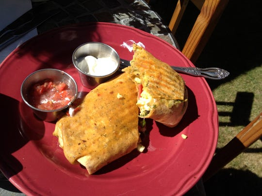 A breakfast burrito from Red Horse Coffee Traders in the northeastern Oregon town of Joseph.
