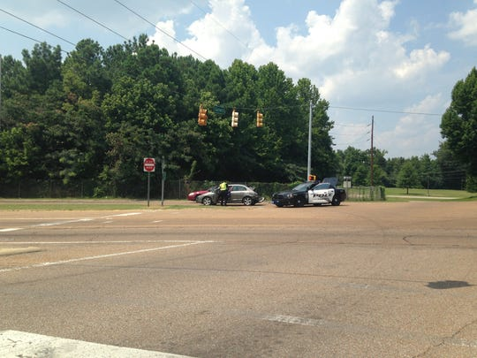 A car was involved in an accident with school bus about 2 p.m. today.