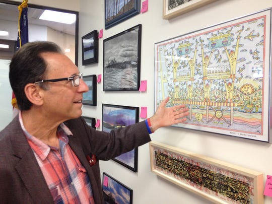 Robert Fellows, board member at the Rockland Center for the Arts and a member of the Tappan Zee Bridge Visual Quality Panel, at the Tappan Zee Bridge art show in Nyack on Aug. 27, 2014.