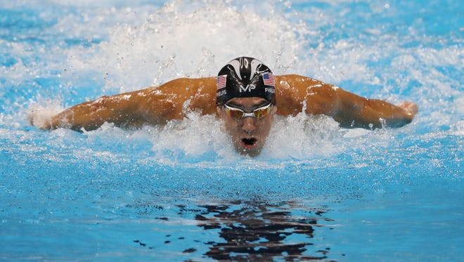 Aug 13, 2016; Rio de Janeiro, Brazil; Michael Phelps (USA) during the men's 4x100 medley relay final in the Rio 2016 Summer Olympic Games at Olympic Aquatics Stadium. Mandatory Credit: Geoff Burke-USA TODAY Sports
