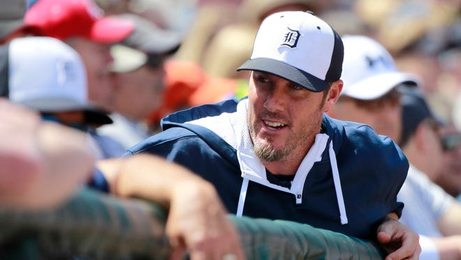Detroit Tigers relief pitcher Joe Nathan in the dugout at a spring training baseball game at Joker Marchant Stadium on March 8, 2015.