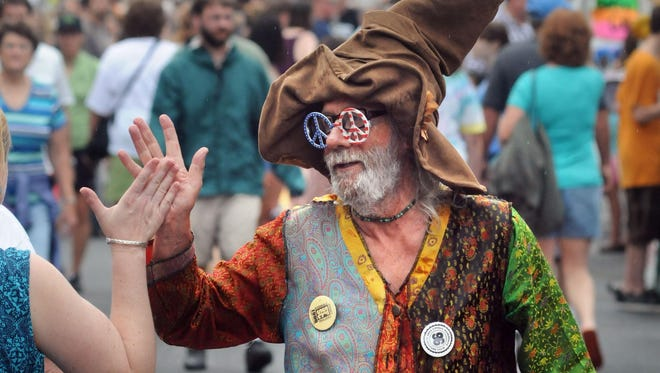 """""""Uncle"""" Willy Guldy of Kingston greets people at the 2010 Rosendale Street Festival. This year's event is set for July 21-22."""