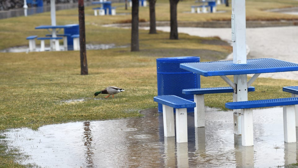 Rain puddles collect around the picnic tables at the