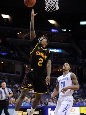 Grambling guard Nigel Ribeiro (2) lays the ball up against Memphis during Thursday's game. The Tigers play Louisiana Tech on Saturday.