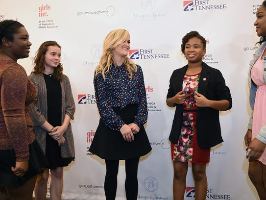 Reese Witherspoon talks with teens from Girls Inc.