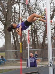 Lakeview senior Jasa West competes in the pole vault in action earlier this season.