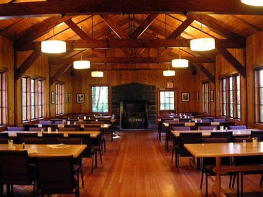The Big Leaf Dining Room at Silver Falls Conference Center exudes rustic charm.