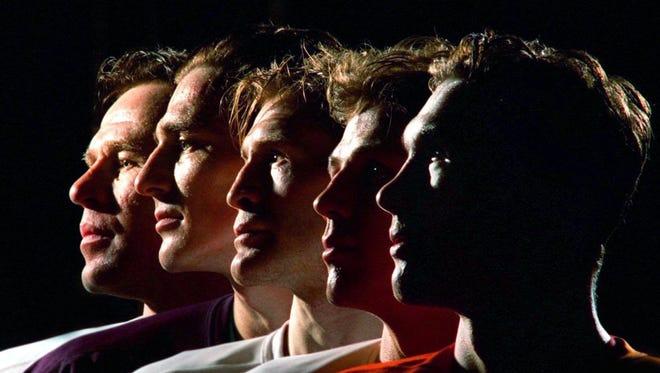 The Detroit Red Wings' Russian Five, from left, Slava Fetisov, Sergei Fedorov, Vladimir Konstantinov, Igor Larionov and Slava Kozlov.