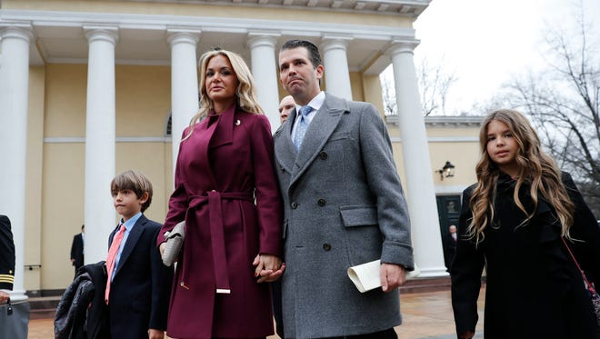 Donald Trump Jr. and wife Vanessa are seen shepherding two of their children on Inauguration Day.