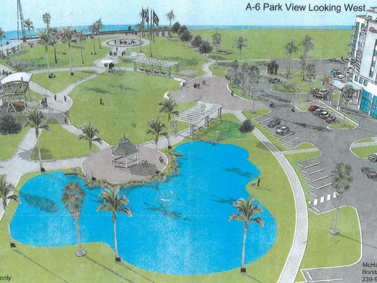 An artist's rendering of the Veterans Community Park hotel project. The Planning Board heard the project proposal at its Sept. 2 meeting.