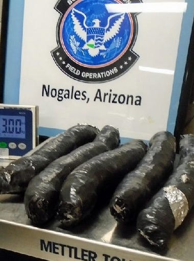 Oct. 9, 2015: Nearly 7 pounds of meth were seized by CBP officers at the Mariposa crossing from the passenger door of a smuggling vehicle.