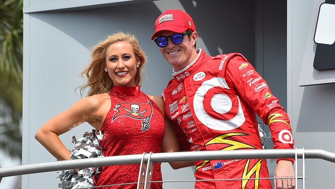 Verizon IndyCar Series driver Scott Dixon looks on during driver introductions prior to the Grand Prix of St. Petersburg at streets of St. Petersburg.