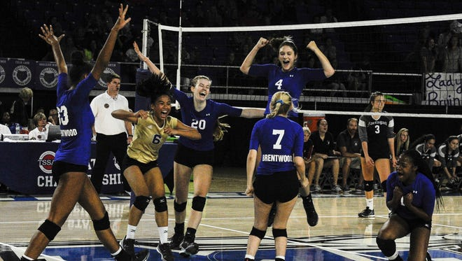The Brentwood volleyball team celebrates their win over Farragut during the TSSAA Class AAA Volleyball Championship match Friday, Oct. 21, 2016, in Murfreesboro, Tenn.