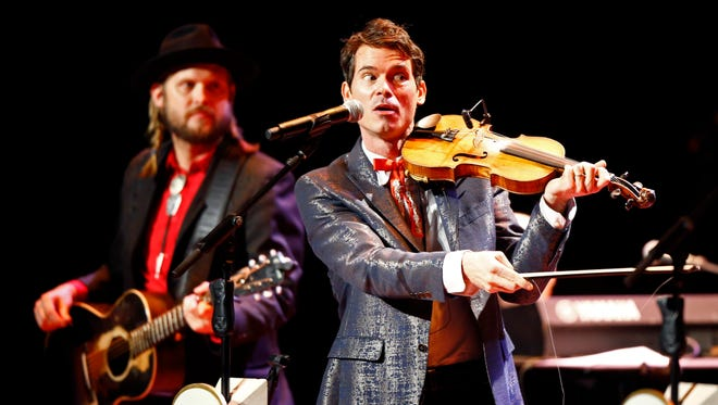 Old Crow Medicine Show member Ketch Secor performs Dec. 1, 2017, at the Ryman Auditorium in Nashville.