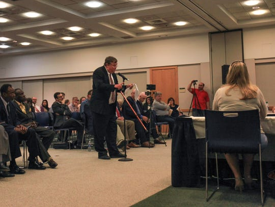 Middletown resident John Nichols speaks during public comment period at a roundtable discussion on marijuana legalization. Nichols comments at the first forum prompted a second roundtable highlighting those against the bill.