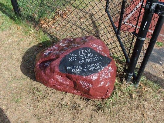 A ceremonial Wayne Hills High football rock was repainted