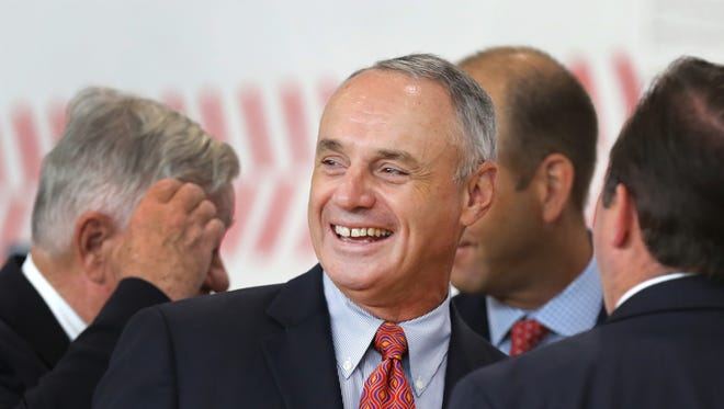 Major League Baseball Commissioner Rob Manfred attended the opening of the Larry & Rhonda Sheakley Boys & Girls Club in Price Hill. The new facility was one of MLB's Legacy Projects for the All-Star game.