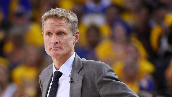 Steve Kerr during Game 1 of the NBA Finals at Oracle Arena.