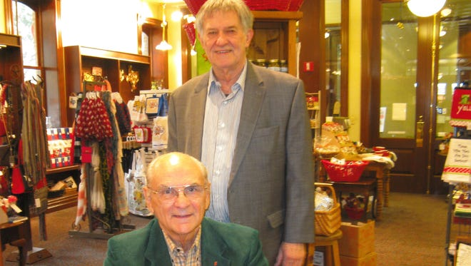 "Bernard Brown, Ph.D, author of ""Daydreaming About Tough Times,"" meets with Glenn Dromgoole, owner of Texas Star Trading Company."