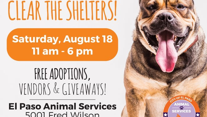 El Paso Animal Services will provide free pet adoptions Saturday for all of the animals being keep at city shelters.