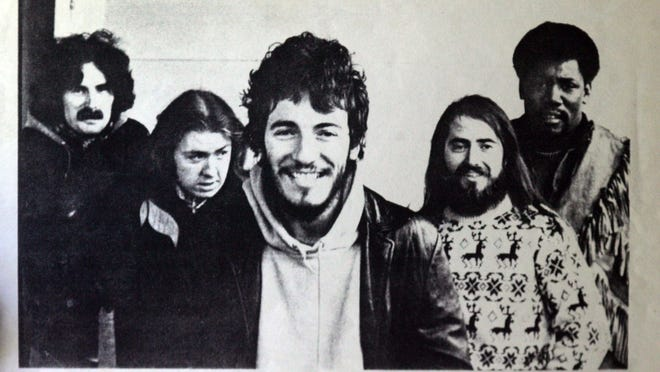 "This undated photo shows (from left) Vinnie ""Mad Dog"" Lopez, Danny Federici, Bruce Springsteen, Gary Tallent and Clarence Clemons."