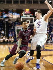 Missouri State Bears guard Dequon Miller (4) drives