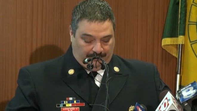 Salvatore Mitrano speaks at Friday's news conference.