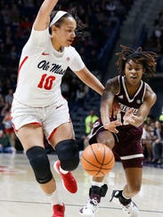 Mississippi State guard Jazzmun Holmes (10) passes
